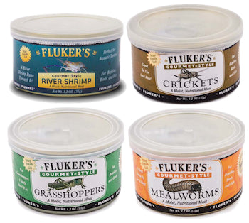 FLUKERS Gourmet Canned Food - Crickets / Grasshoppers / Mealworms / River Shrimp