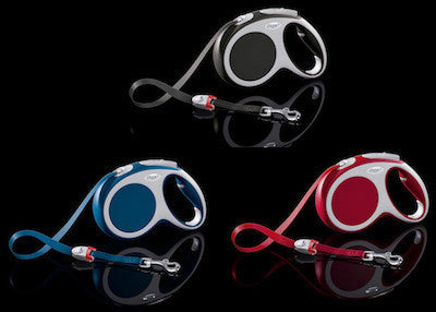 FLEXI Vario Tape Leash Large - 5m/16ft (60kg/132lbs) - Anthracite / Red / Blue