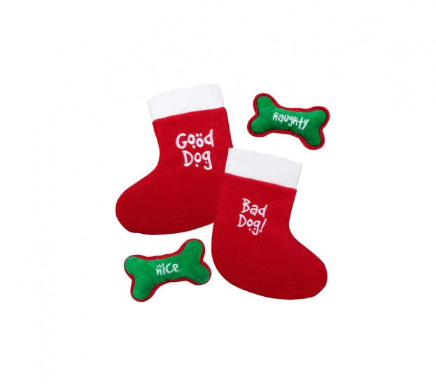 Good Dog / Bad Dog Dual Sided Christmas Stocking for Dogs with Squeaking Toy