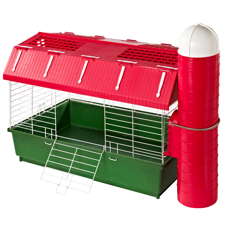 kaytee barn habitat with hay silo small animal cage