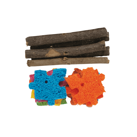 Kaytee Combo Chews Apple Wood and Crispy Puzzle Toys for Small Animals