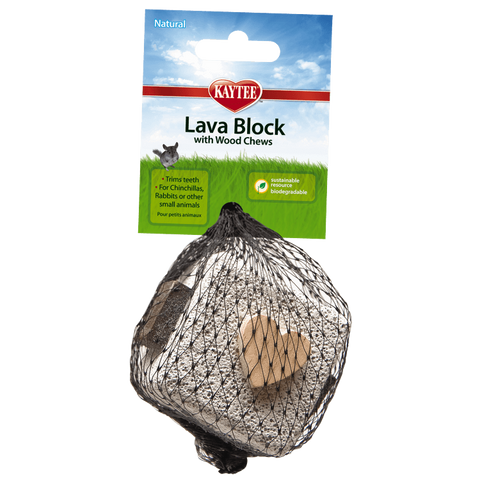 Kaytee Lava Block with Wood Chews Natural Chew Toy for Small Animals