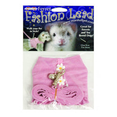 Marshall Pink Fashion Ferret Harness and Leash with Flowers