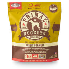 Primal Freeze Dried Dog Food - Rabbit Nuggets - Grain Free for All Life Stages