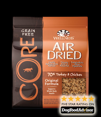 WELLNESS CORE GRAIN FREE Air Dried Original - Turkey and Chicken Dry Dog Food for All Life Stages