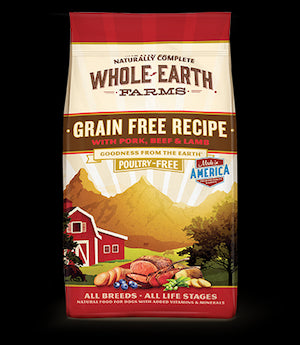 WHOLE EARTH FARMS Grain Free Pork, Beef and Lamb Dog Food by Merrick - for All Life Stages