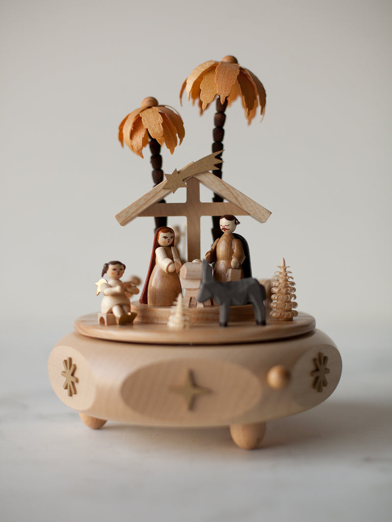 Music Box Nativity with Angel and Shepherds