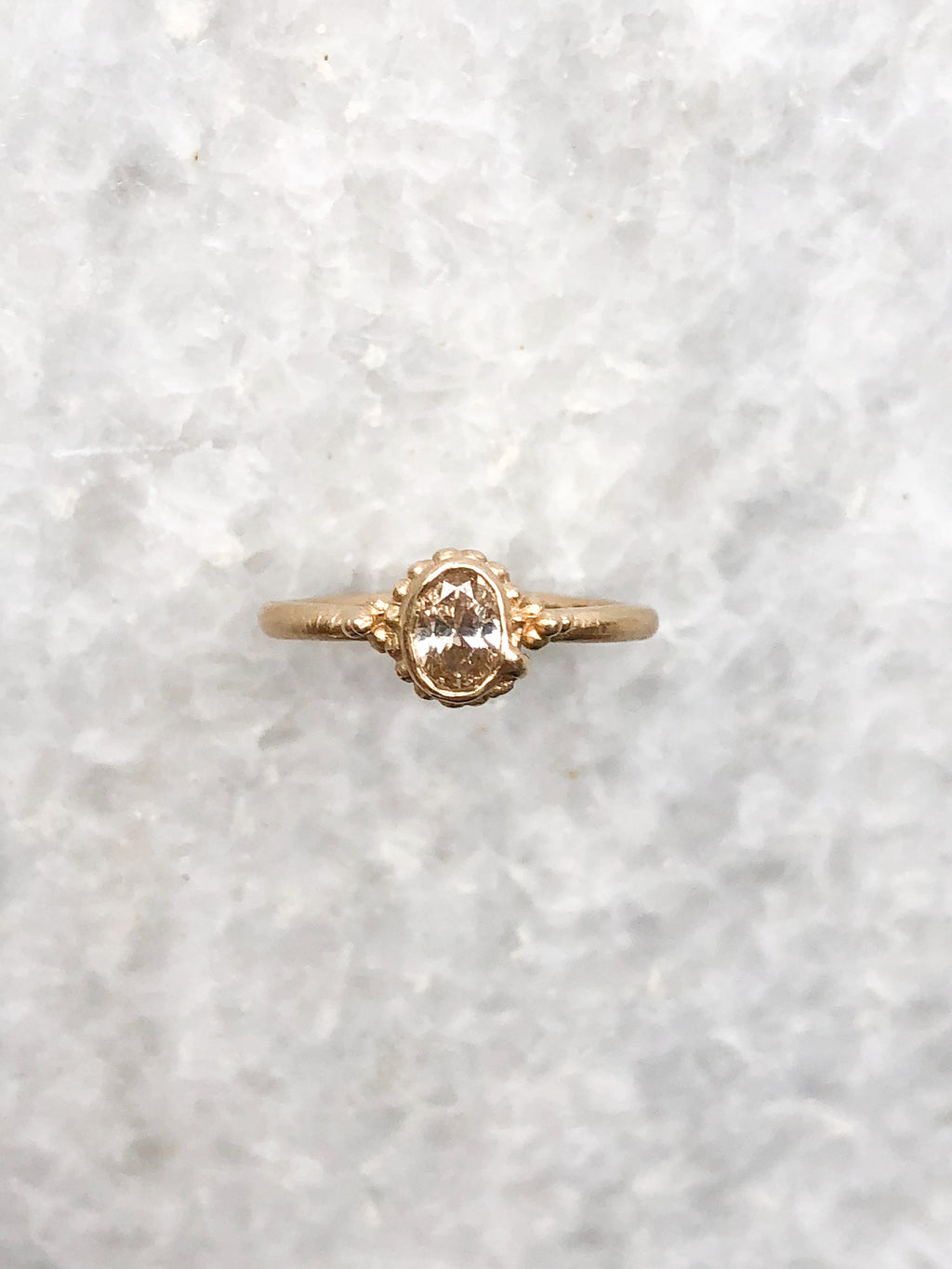 Champagne Diamond Ring in Beaded Setting