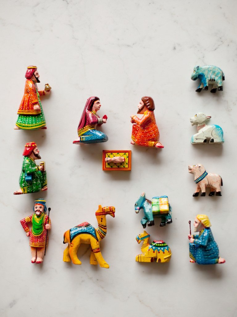 Hand-Painted Indian Wood Nativity