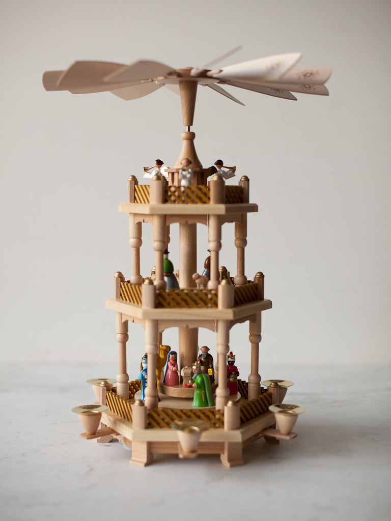 Golden Colorful Three-Tier Nativity Pyramid