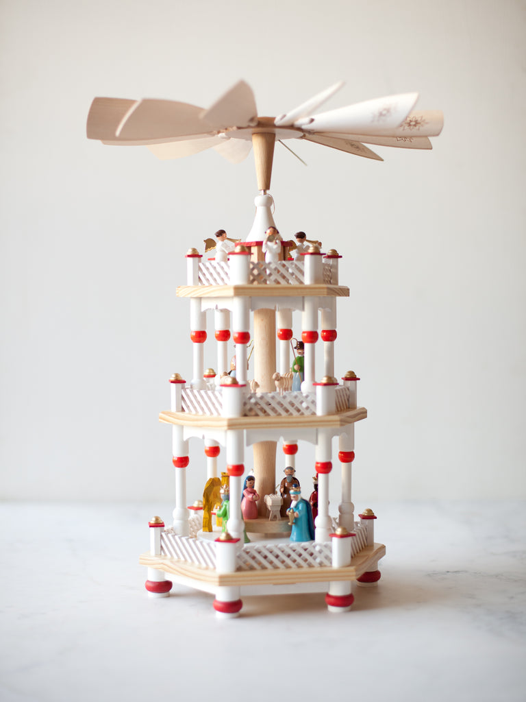 Red & White Three-Tier Nativity Pyramid