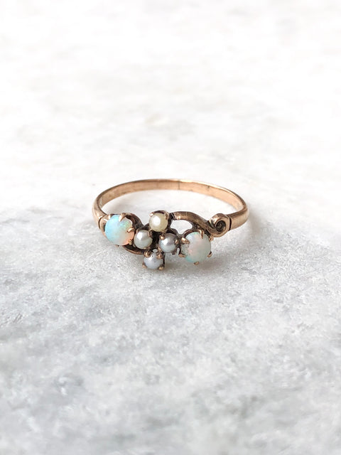 Double Opal & Pearl Ring