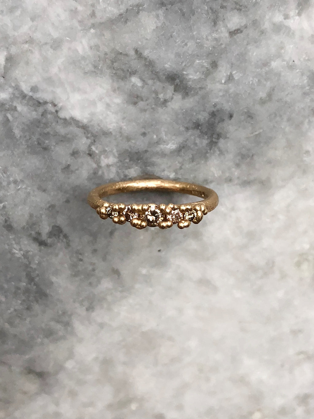 Five Stone Ring with Granules
