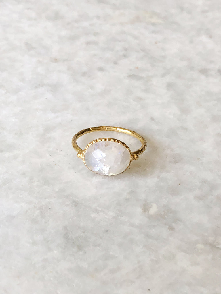 White Rainbow Moonstone Ring