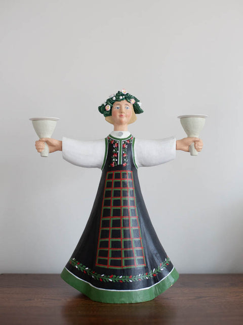 Hand-Carved Norwegian Flowergirl