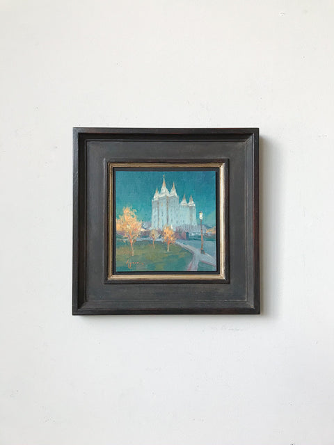 Beacon of Light  Salt Lake Temple<br/>Original Painting<br/>by J. Ken Spencer