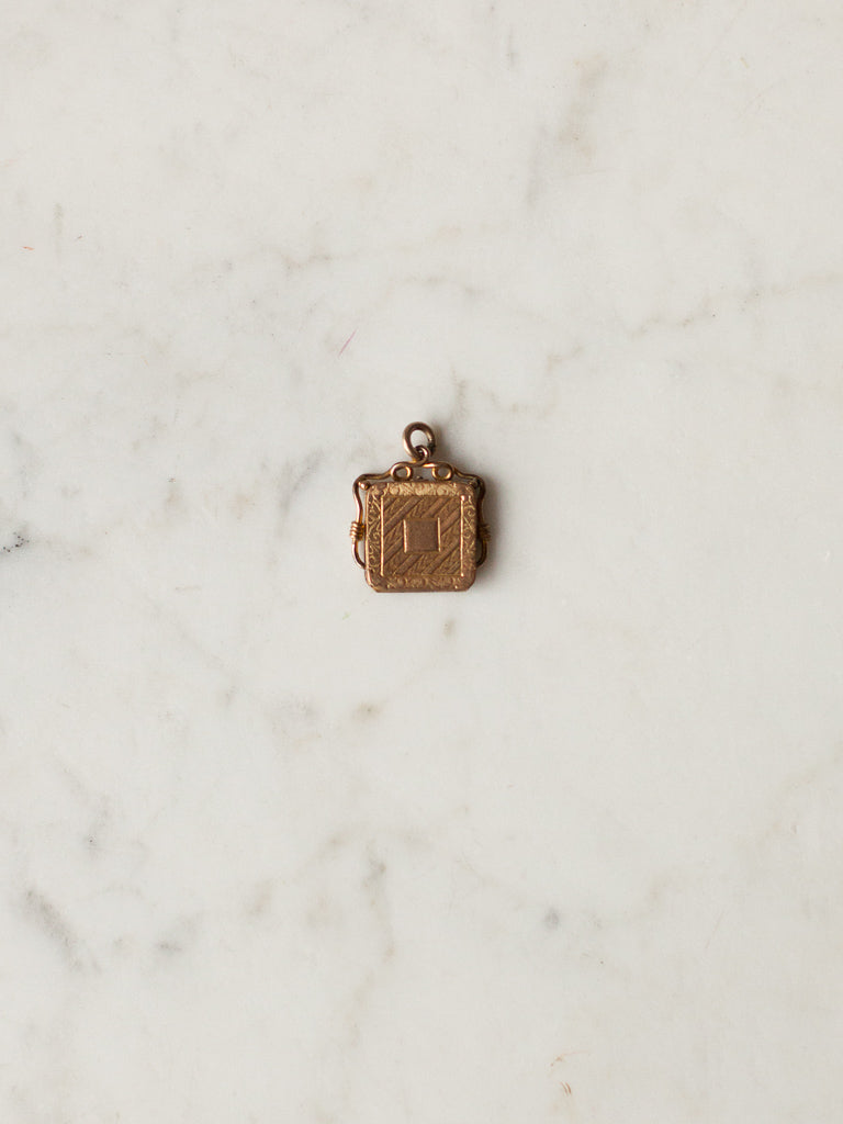 Square Gold Locket Filigree
