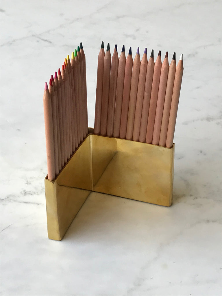 Colored Pencils & Brass Holder