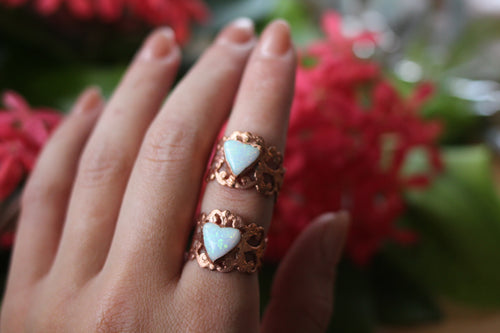 Size 5-10; Sterling Opal Heart Ring