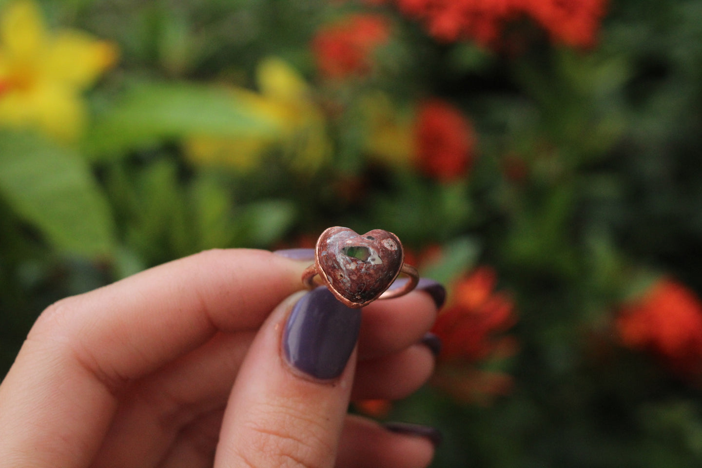 Size 5; Mexican Fire Opal Heart Ring No.IV