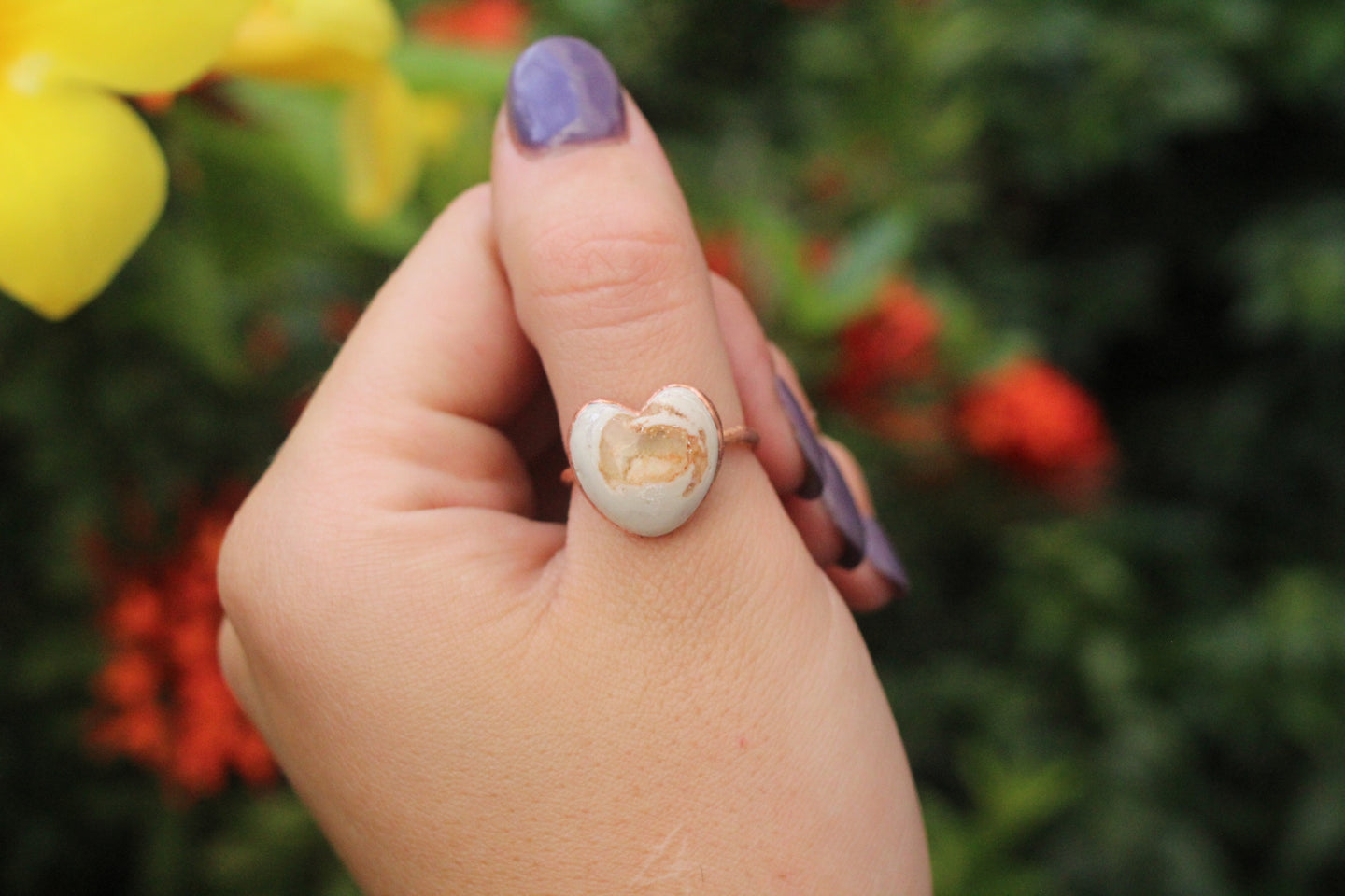 Size 9; Mexican Fire Opal Heart Ring No.XXI
