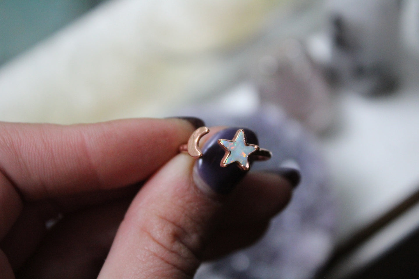 Size 7-8; Opal Star & Moon Ring