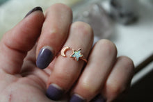 Size 8-9; Opal Star & Moon Ring