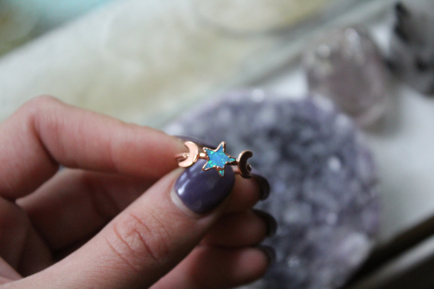 Size 6; Opal Star Moon Phase Ring