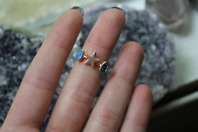 Size 5; Opal Star Moon Phase Ring