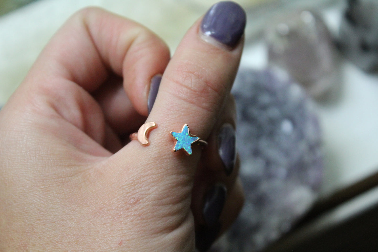 Size 7.5-8.5; Opal Star & Moon Ring