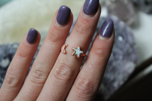 Size 6-7; Opal Star & Moon Ring