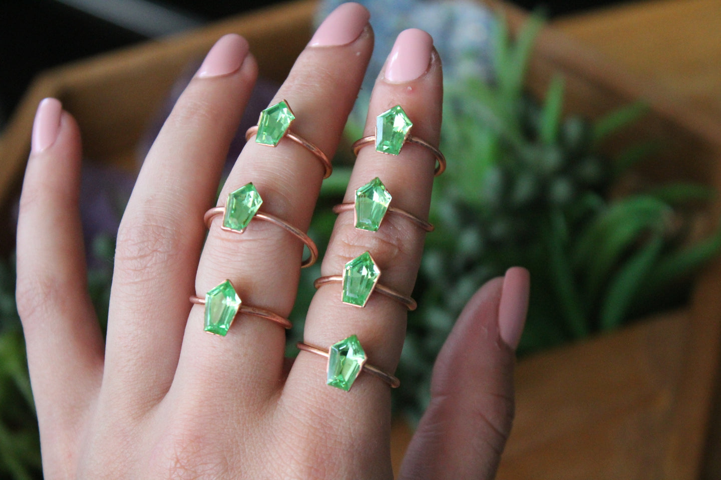 Swarovski Green Coffin Ring