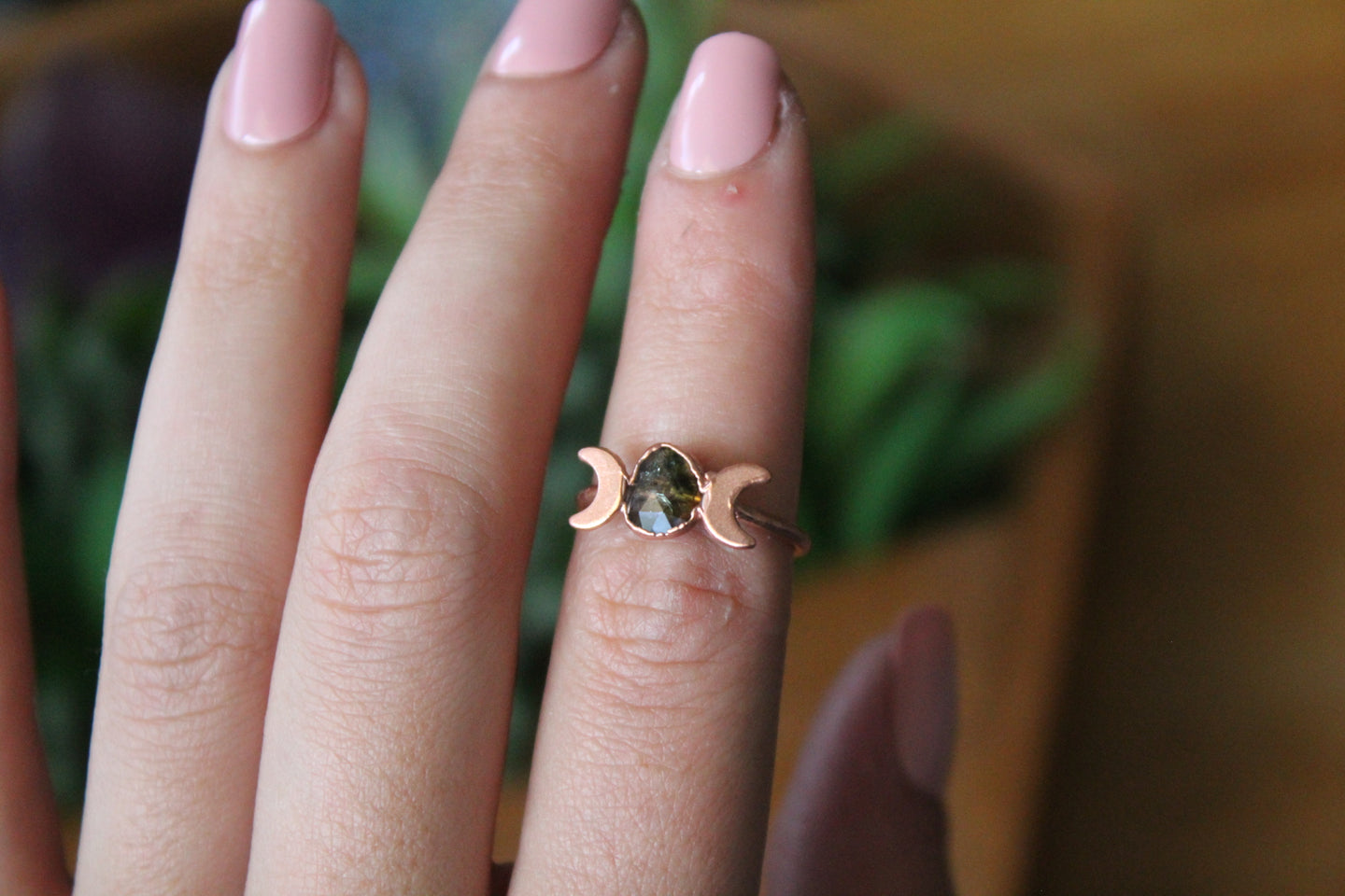 Size 6; Watermelon Tourmaline Moon Phase Ring