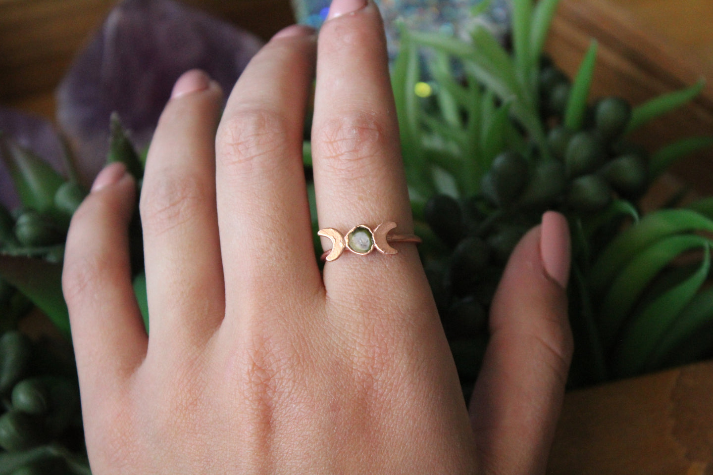 Size 7.5; Watermelon Tourmaline Moon Phase Ring
