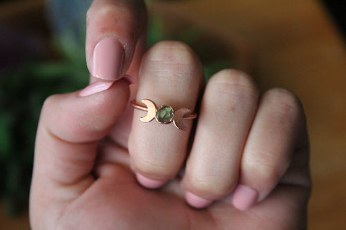 Size 8; Watermelon Tourmaline Moon Phase Ring