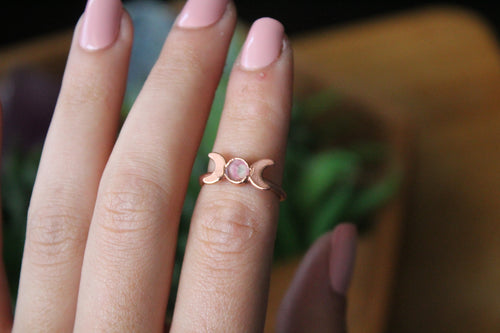 Size 5; Watermelon Tourmaline Moon Phase Ring