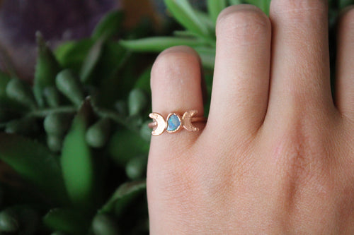 Size 4.5; Australian Opal Moon Phase Ring