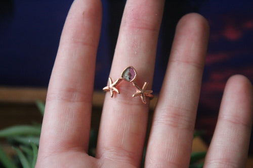 Size 8; Watermelon Tourmaline Starfish Ring