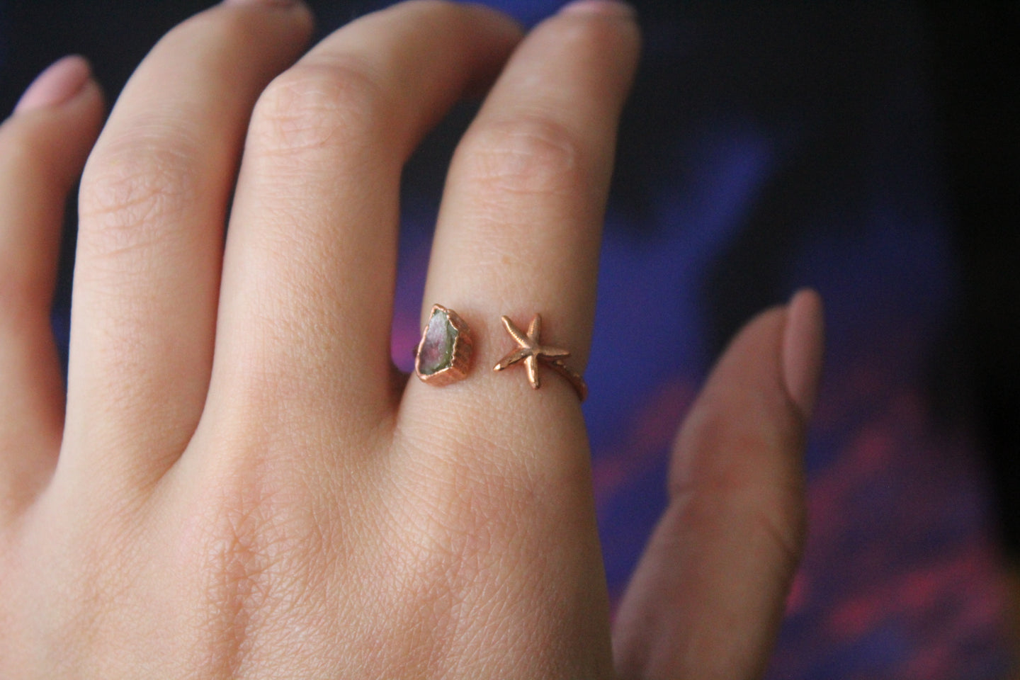Size 6-7.5; Watermelon Tourmaline Starfish Ring