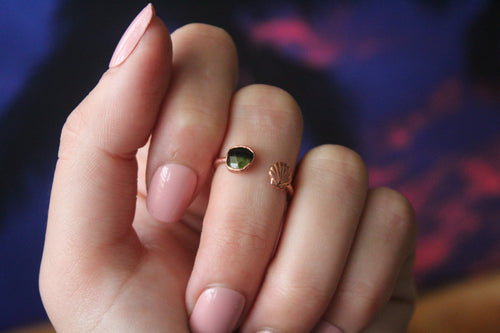 Size 6-7; Tourmaline Shell Ring
