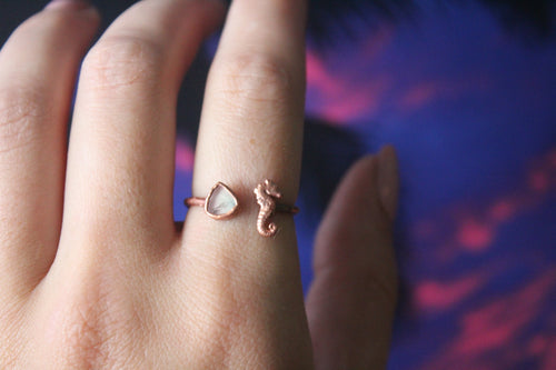 Size 7.5-9; Watermelon Tourmaline Seahorse Ring