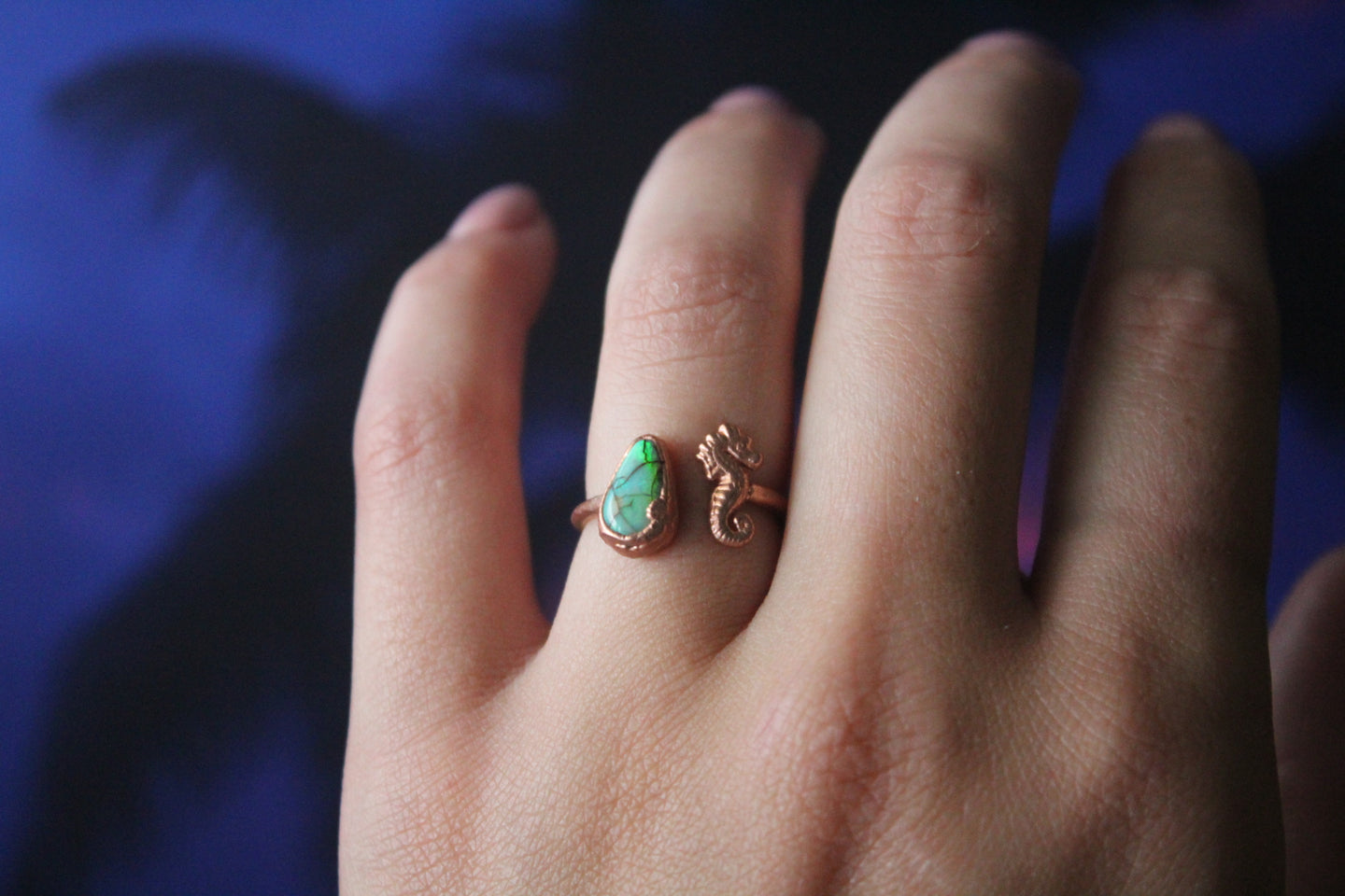 Size 5.5-7; Monarch Opal Seahorse Ring