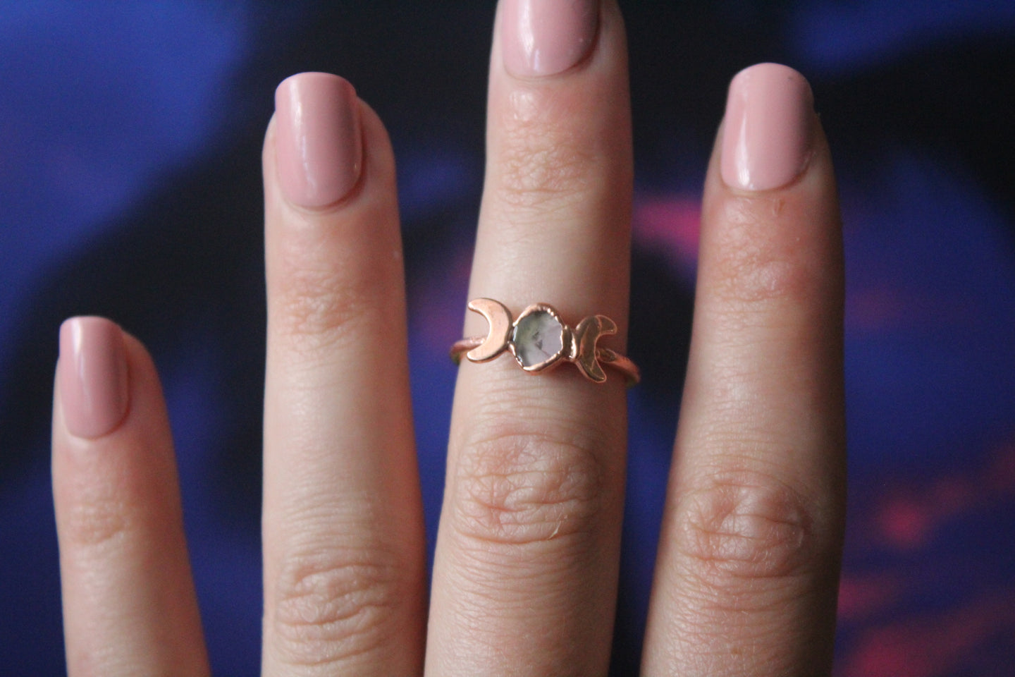 Size 6.5; Watermelon Tourmaline Moon Phase Ring