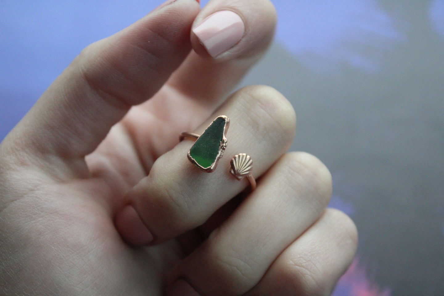 Size 9-10.5; Sea Glass Ring