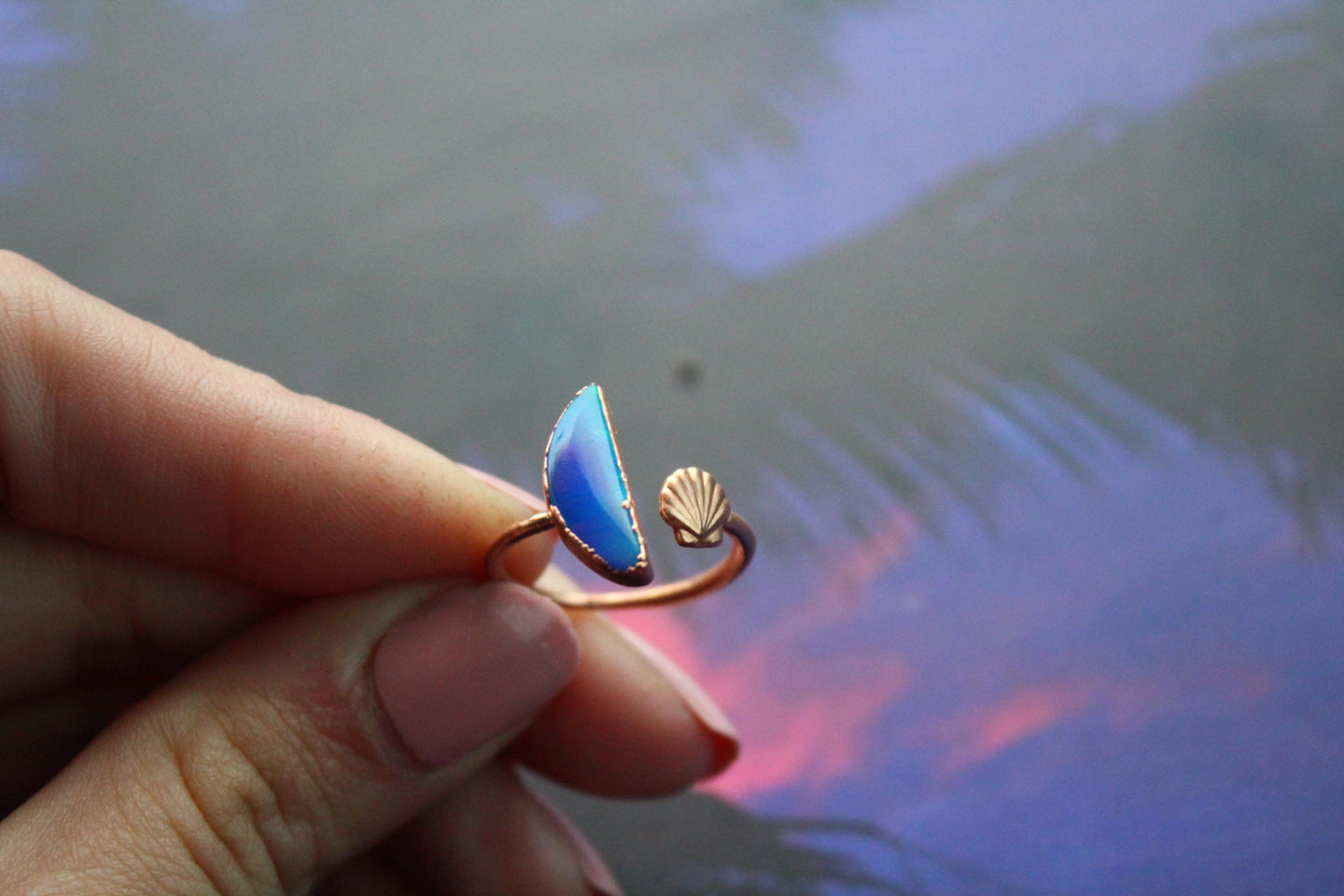 Size 7-8; Aurora Opal Ring