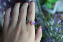 Size 8; Pink Druzy Moonstone Space Ring