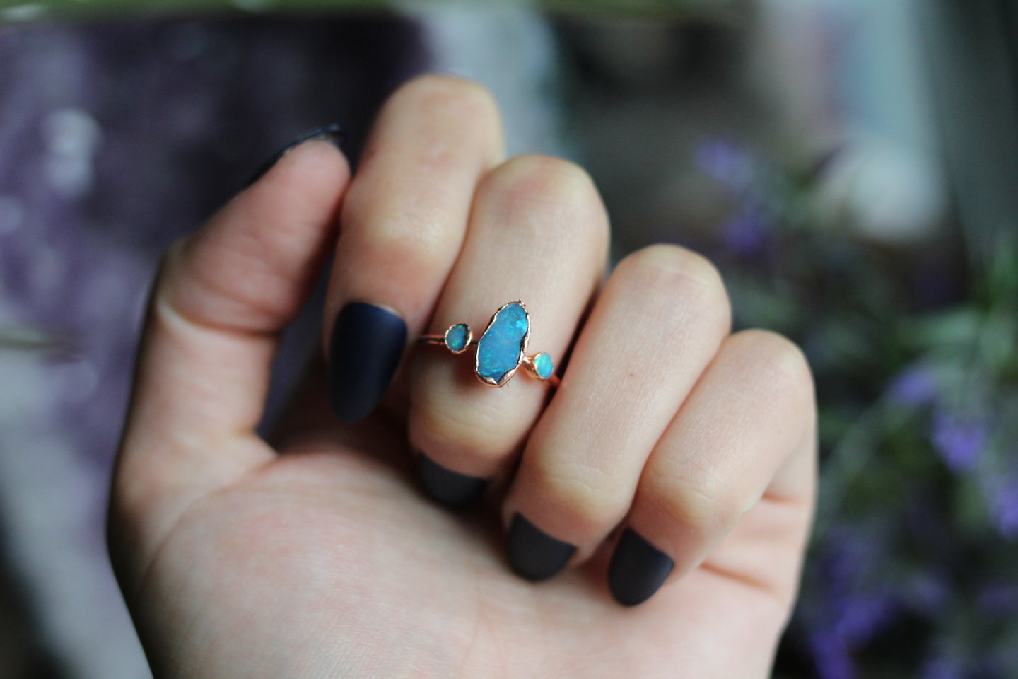 Size 8; Triple Opal Ring