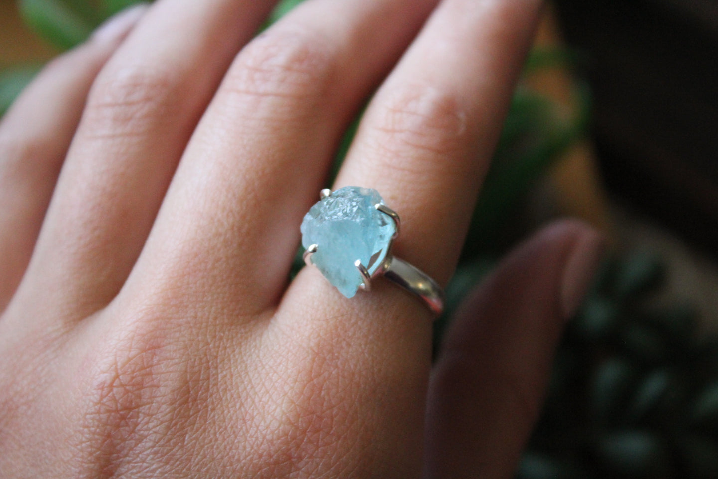 Size 7; Rough Aquamarine Ring