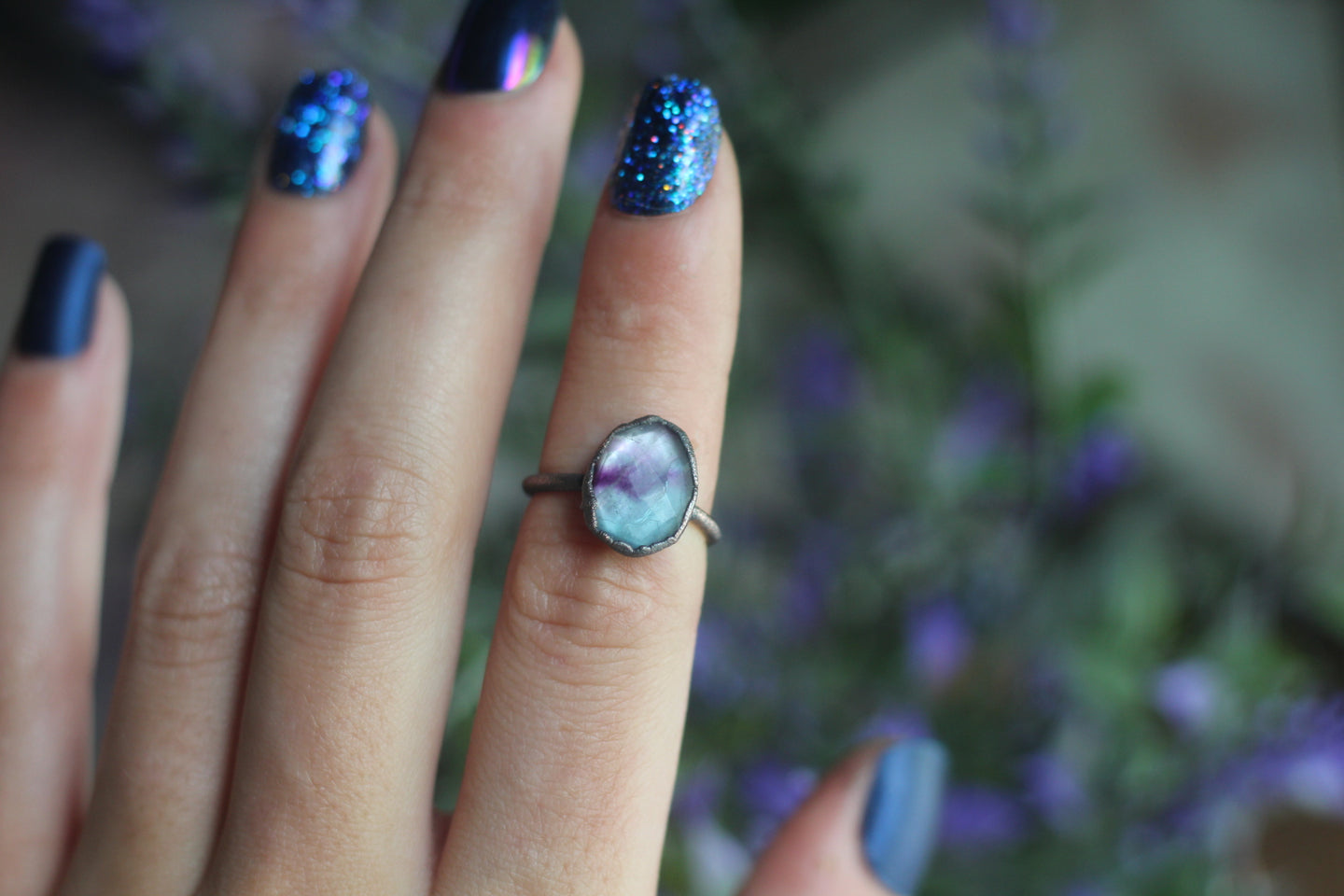 Size 5; Rainbow Fluorite Ring
