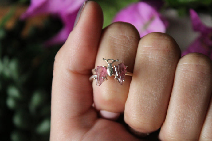 Size 7 ; Pink Tourmaline Butterfly Ring